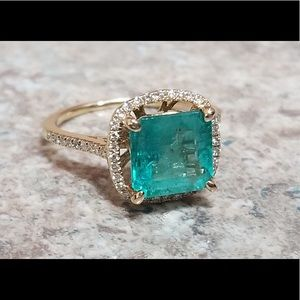 Jewelry - Emerald and Diamond Ring 14K
